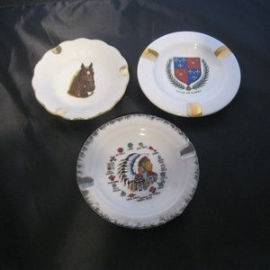 Vintage Lot of 3 Ashtrays Porcelain Japan  Limoges